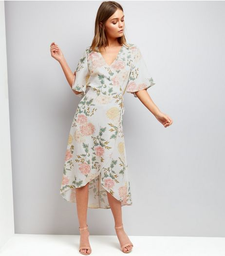 White Floral Print Wrap Front Midi Dress  | New Look