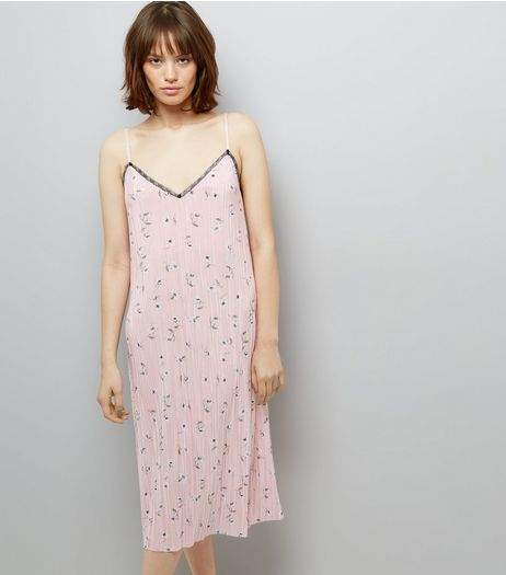 Pink Floral Print Pleated Midi Slip Dress | New Look