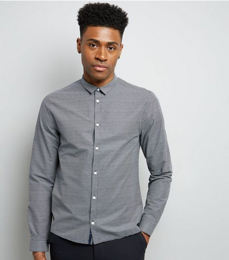 Navy Grain Print Long Sleeve Shirt | New Look