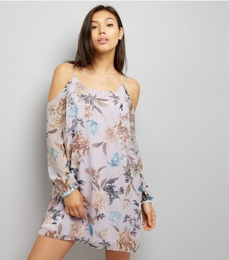 Lilac Floral Print Chiffon Cold Shoulder Dress  | New Look