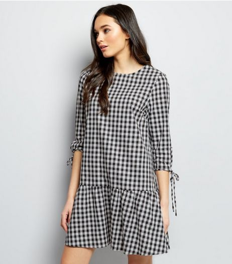 Black Gingham Check Drop Hem Smock Dress | New Look