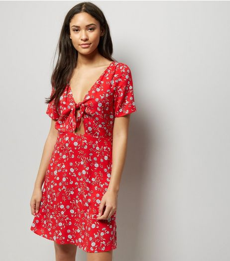 Red Floral Print Tie Front Skater Dress  | New Look