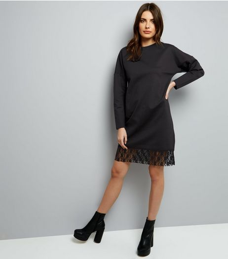 Black Lace Hem Long Sleeve Jumper Dress | New Look