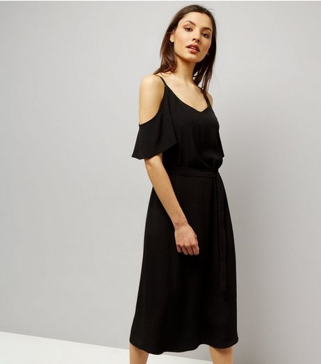Black V Neck Cold Shoulder Midi Slip Dress  | New Look