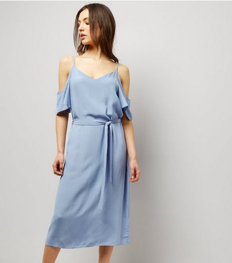 Pale Blue V Neck Cold Shoulder Midi Slip Dress | New Look