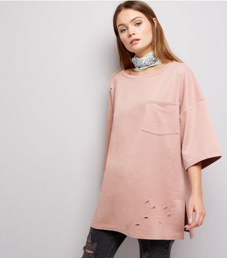Anita and Green Pink Oversized Ripped T-Shirt | New Look