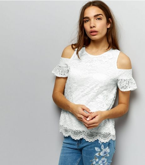 White Lace Cold Shoulder Scallop Hem Top | New Look