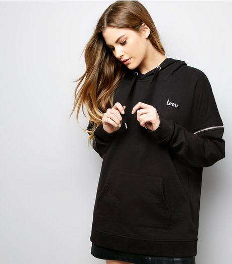 Anita and Green Black Love Embroidered Oversized Hoodie | New Look