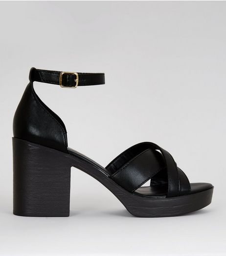 Black Platform Cross Strap Heels | New Look