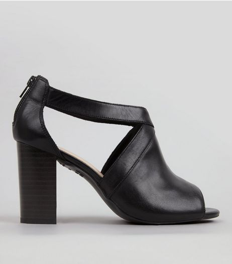 Wide Fit Black Comfort Cut Out Side Peep Toe Heels | New Look