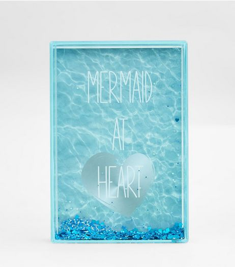 Blue Mermaid Glitter Shake It Photo Frame | New Look