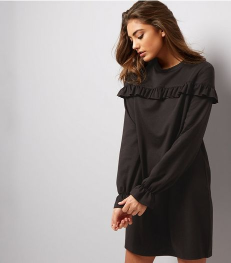 Black Frill Trim and Cuff Sweater Dress | New Look