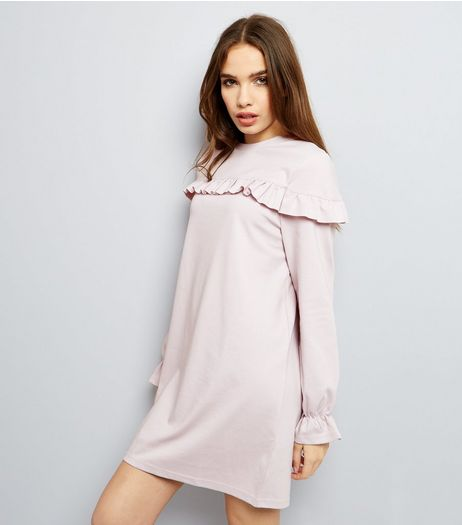 Pink Frill Trim and Cuff Sweater Dress | New Look