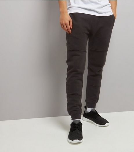 Black Reverse Panel Jersey Tapered Joggers | New Look