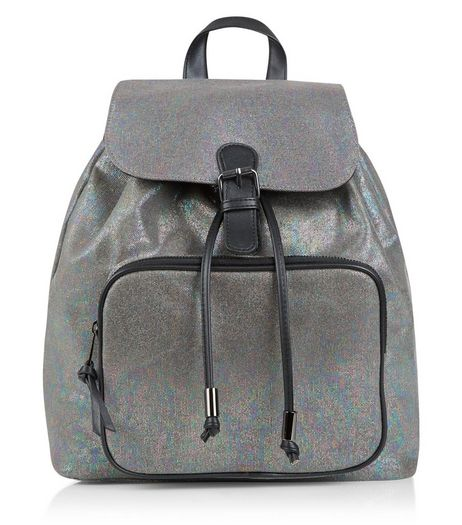 Dark Grey Iridescent Metallic Mini Backpack | New Look