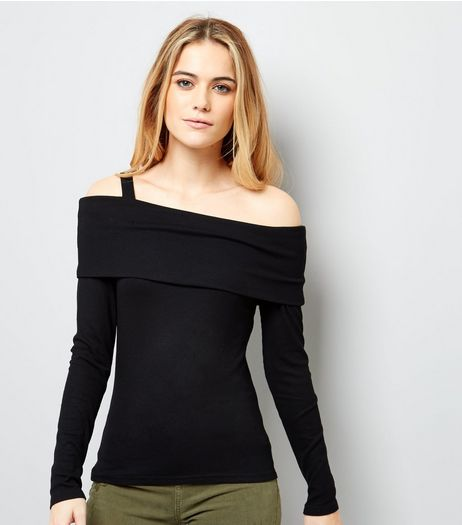 Black Fold Over Bardot Neck Top  | New Look