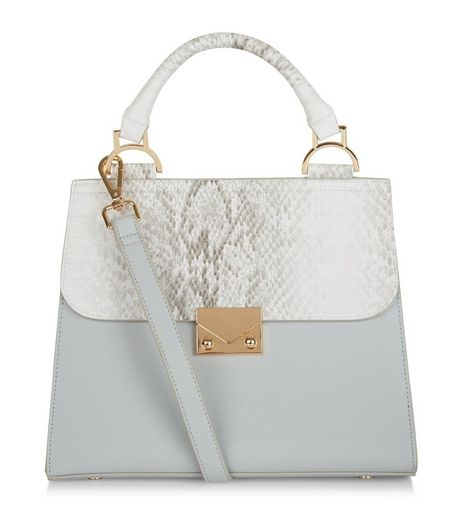 Pale Blue Snakeskin Texture Panel Lady Bag | New Look
