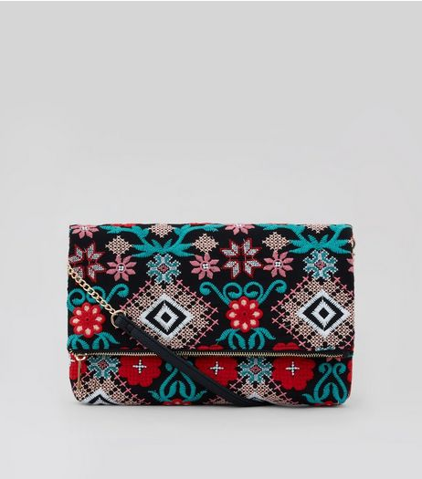 Black Embroidered Foldover Clutch | New Look