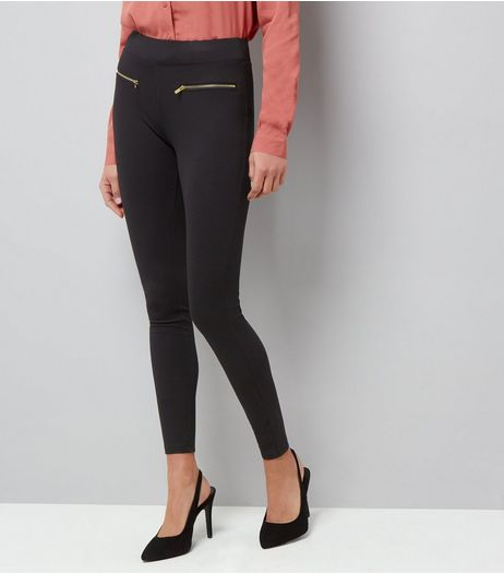 Black Zip Trim Leggings  | New Look