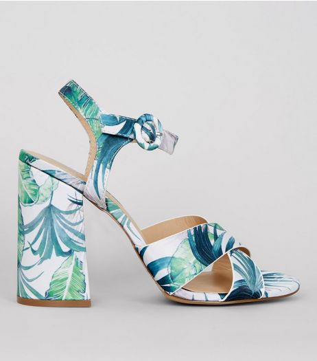 Green Floral Printed Heeled Sandals | New Look