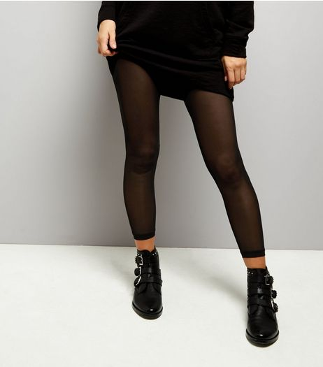 Black Mesh Leggings | New Look