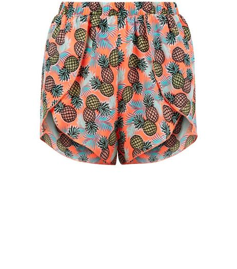 Teens Orange Pineapple Print Beach Shorts | New Look