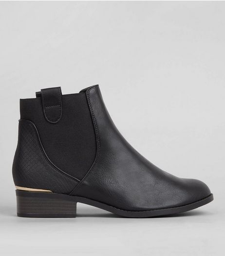 Black Elasticated Sides Metal Trim Boots | New Look