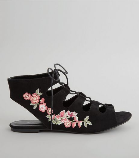 Black Suedette Floral Embroidered Ghillie Shoes | New Look
