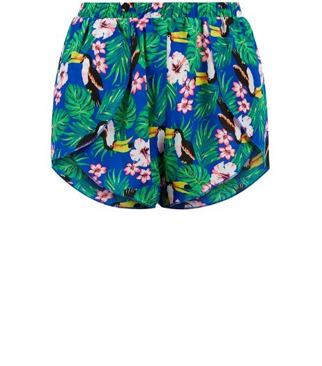 Teens Green Tropical Floral Print Shorts  | New Look