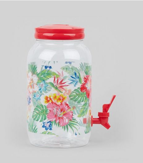 Red Tropical Print Dispenser  | New Look