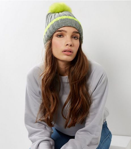 Grey Neon Stripe Faux Fur Pom Pom Hat | New Look