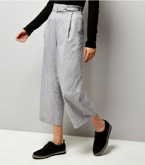 Pale Blue D Ring Belted Cropped Trousers  | New Look