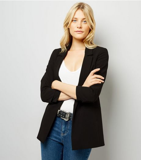 Black Ruched Sleeve Blazer | New Look