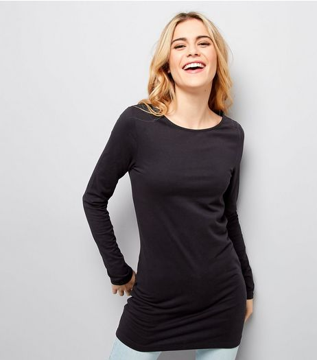 Black Long Sleeve Longline T-Shirt  | New Look