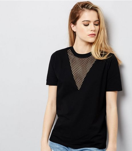 Black Mesh Panel Short Sleeve T-Shirt  | New Look