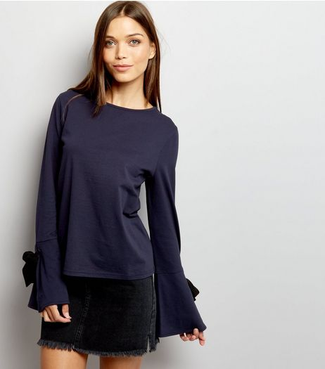 Navy Tie Bell Sleeve Top | New Look