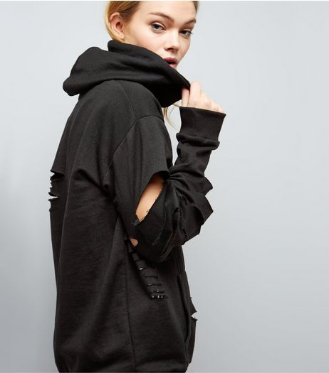 Parisian Black Cut Out Oversized Hoodie | New Look