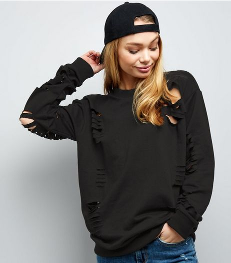 Parisian Black Cut Out Sweater  | New Look