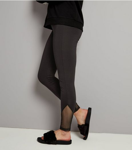 Teens Black Mesh Hem Leggings | New Look