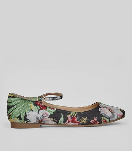 Black Floral Jaquard Ankle Strap Pumps | New Look