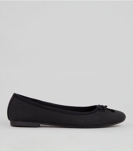 Black Ballerina Slip on Shoes  | New Look