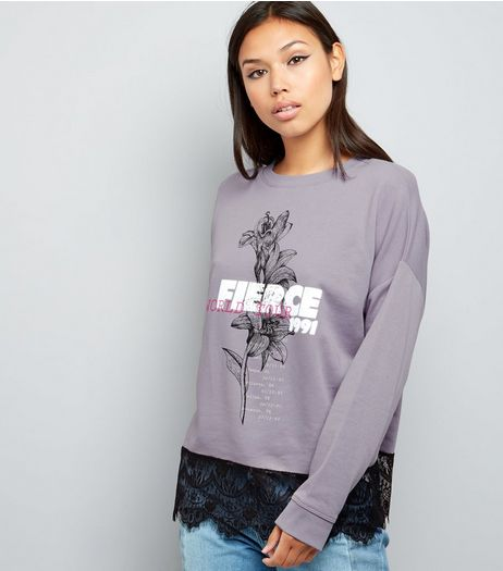 Lilac Fierce Print Lace Hem Long Sleeve Sweater  | New Look