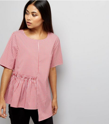 Petite Red Gingham Spliced Peplum Hem Top | New Look