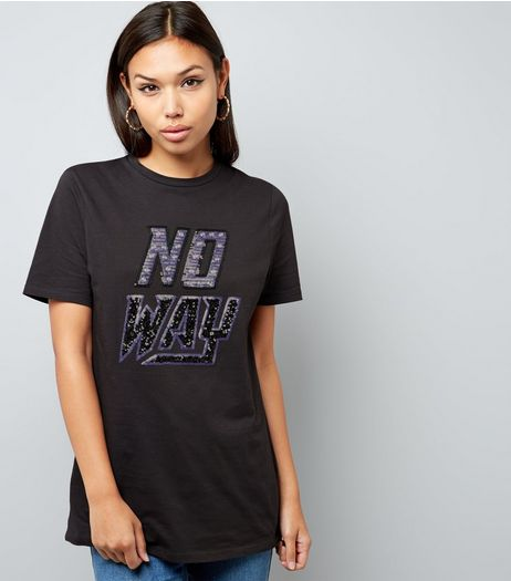 Dark Grey No Way Print Embellished T-Shirt  | New Look