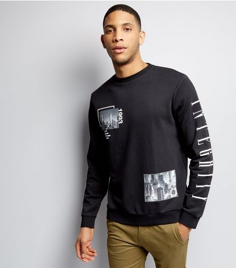 Black Integrity Print Sleeve Sweater  | New Look