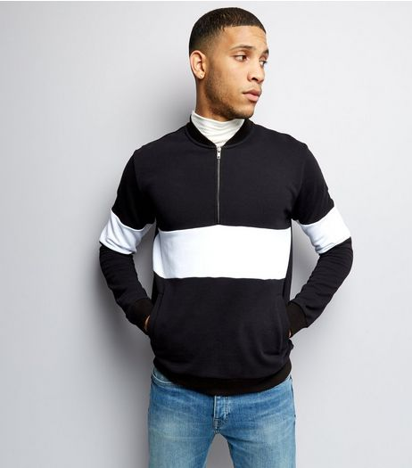 Black Stripe Colour Block Half Zip Front Sweater | New Look
