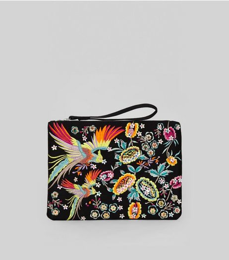 Black Embroidered Bird Clutch Bag | New Look