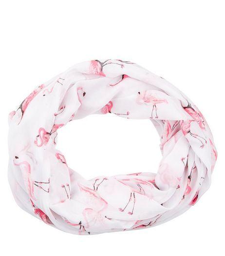 White Flamingo Print Snood  | New Look