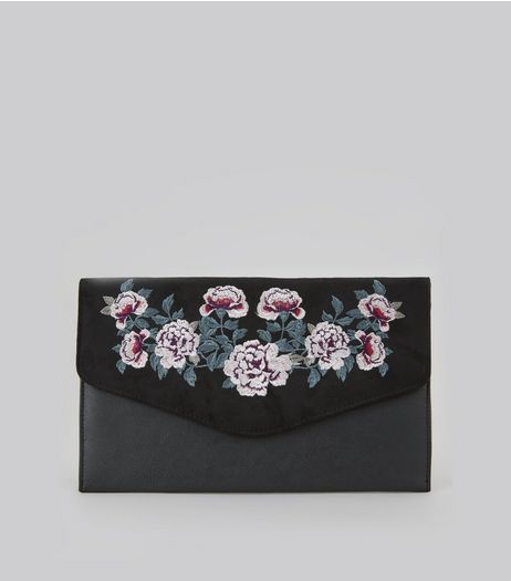 Black Suedette Panel Floral Embroidered Clutch  | New Look