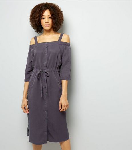 Grey Tie Waist Cold Shoulder Midi Dress | New Look